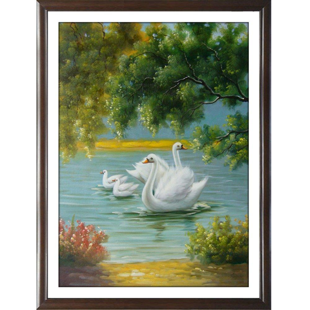 欧式有框画中式挂画风景中国画客厅卧室装饰画走廊玄关壁画白天鹅 40*