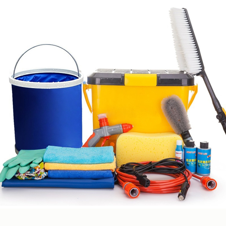 洗车汽车清洁套装组合工具(毛巾+玻璃水+海绵+水桶
