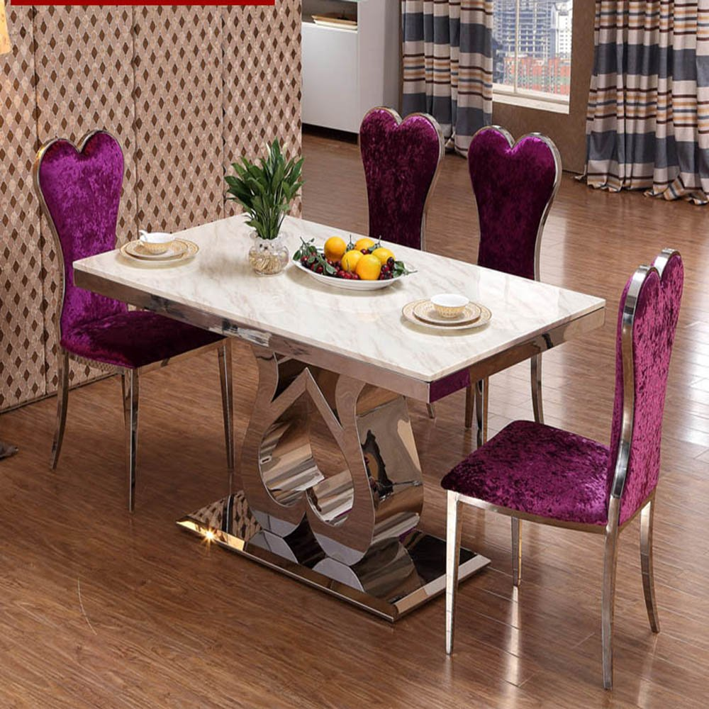全程人生 大理石餐桌饭桌台田园白色简欧式不锈钢餐桌