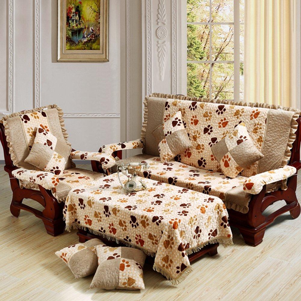 慕梵依家纺木沙发坐垫靠垫法莱绒裙边沙发垫