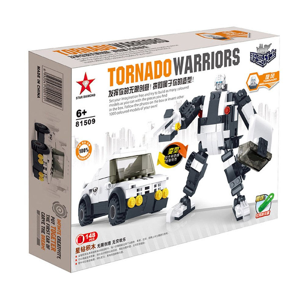 星钻 乐高式拼装积木 变形金刚 机器人 积木积变战士 旋风 警车 越野