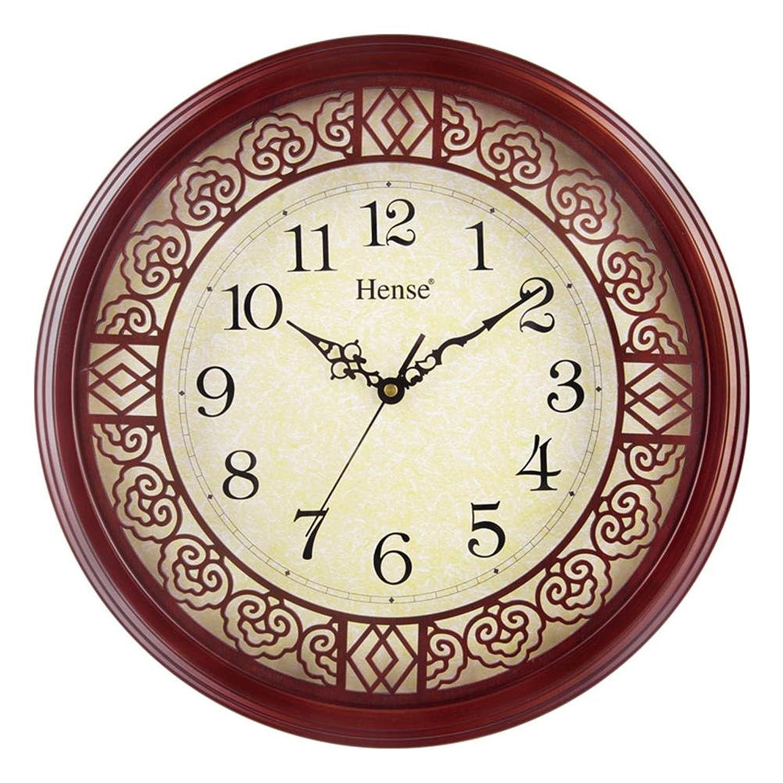 实木挂钟 客厅中式仿古镂空祥云雕刻静音钟