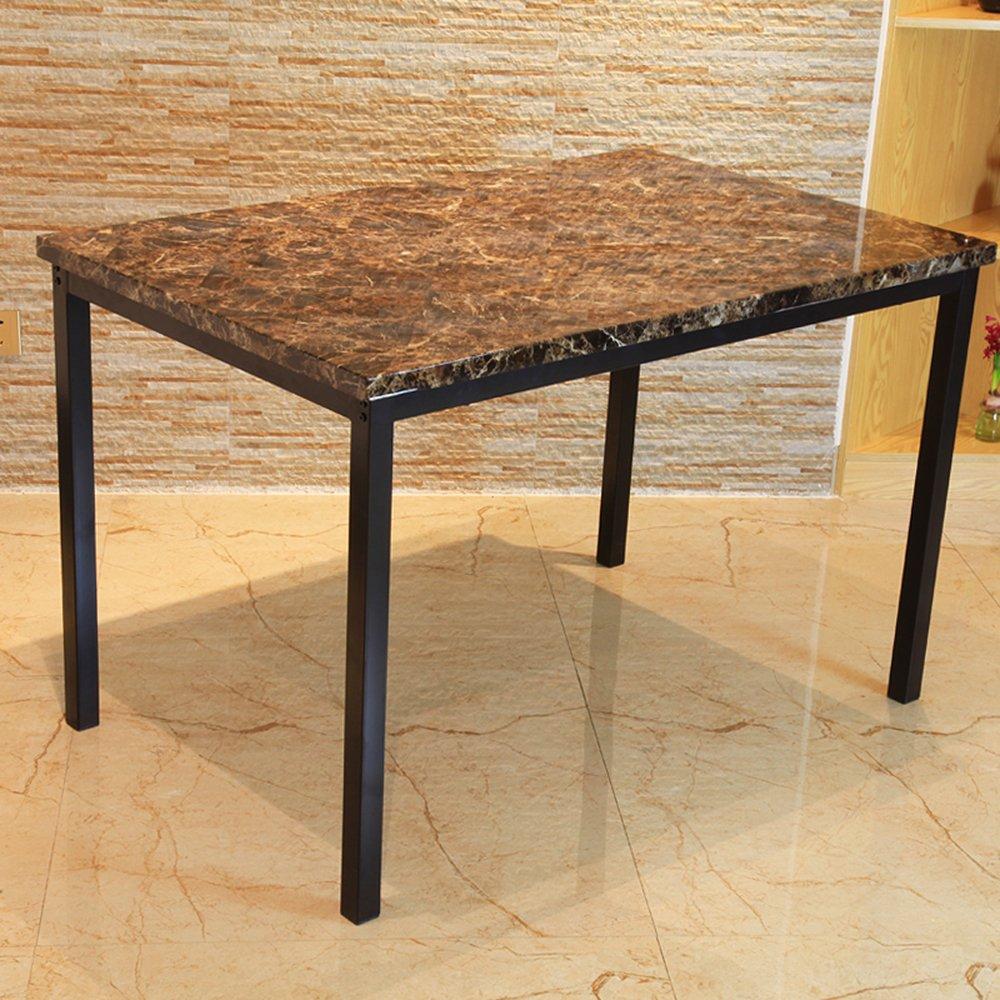 翊通 现代简约餐桌欧式小户型简易长方形大理石纹理饭桌120*76cm 加厚