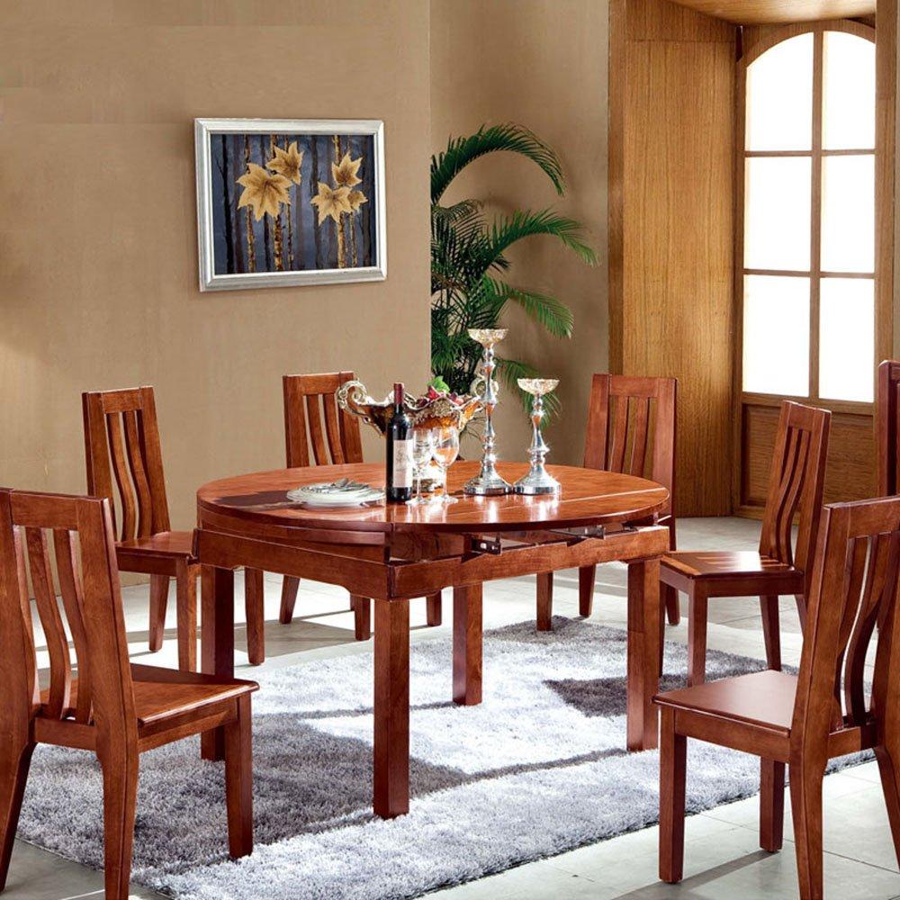 胡桃木实木餐桌餐椅组合简约现代中式圆形
