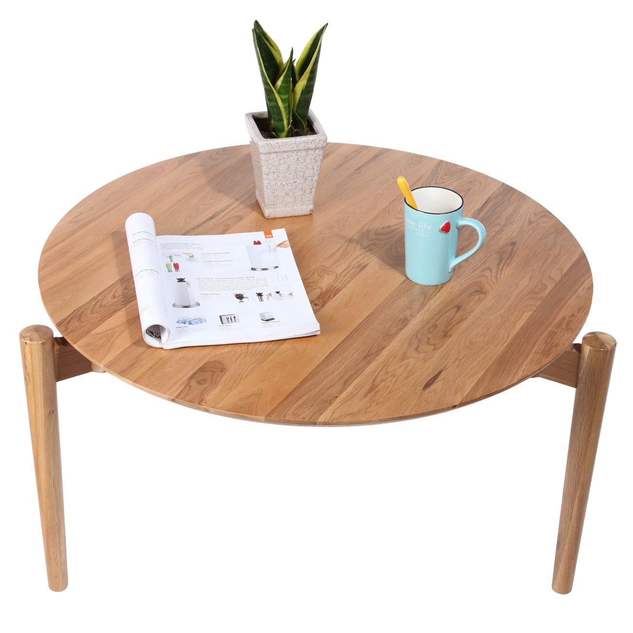 北美进口白橡原木圆桌 全实木咖啡桌 环保硝基漆 自然木纹理 简约北欧
