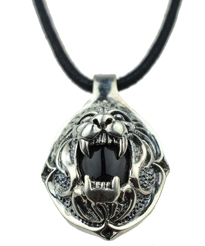 复古饰品狮子头s925纯银泰银项链吊坠-珠宝