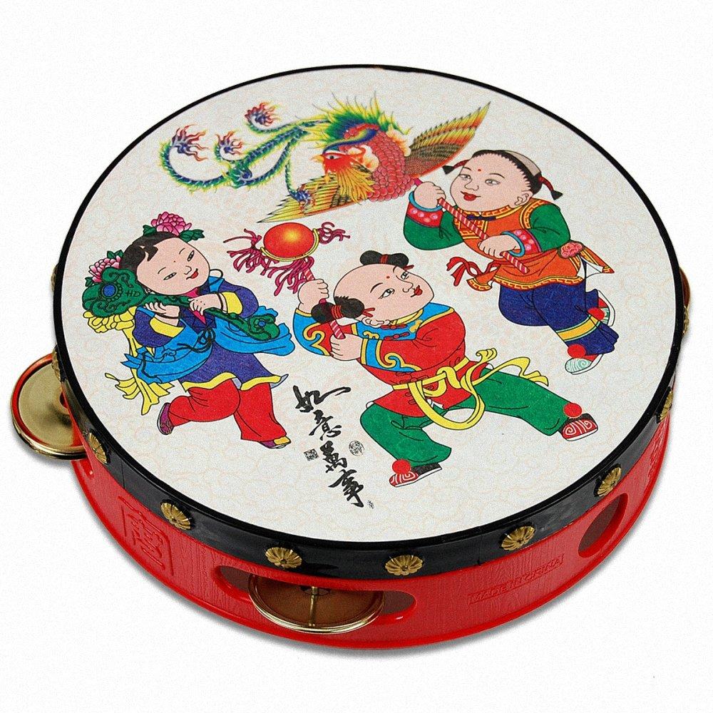 幕和 手鼓手铃鼓摇鼓吉祥铃鼓传统图案儿童乐器玩具 直径15.5cm