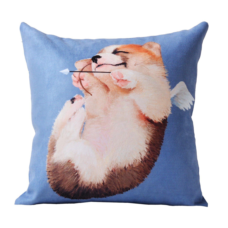 创意时尚设计柯基系列 办公室靠背 卡通沙发抱枕靠枕 天使柯基蓝色不