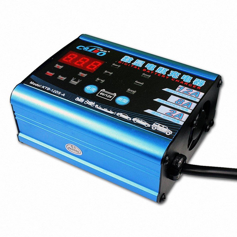 卡途宝 12v汽车电瓶充电器 摩托车电池充电器 智能修复蓄电池数显充电