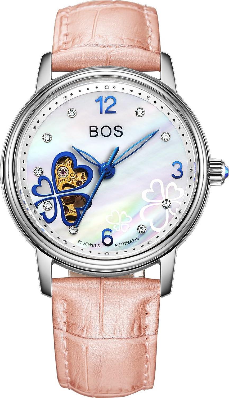 bos 宝斯 四叶草全自动机械手表 女士防水机械表 镂空皮带腕表时尚女