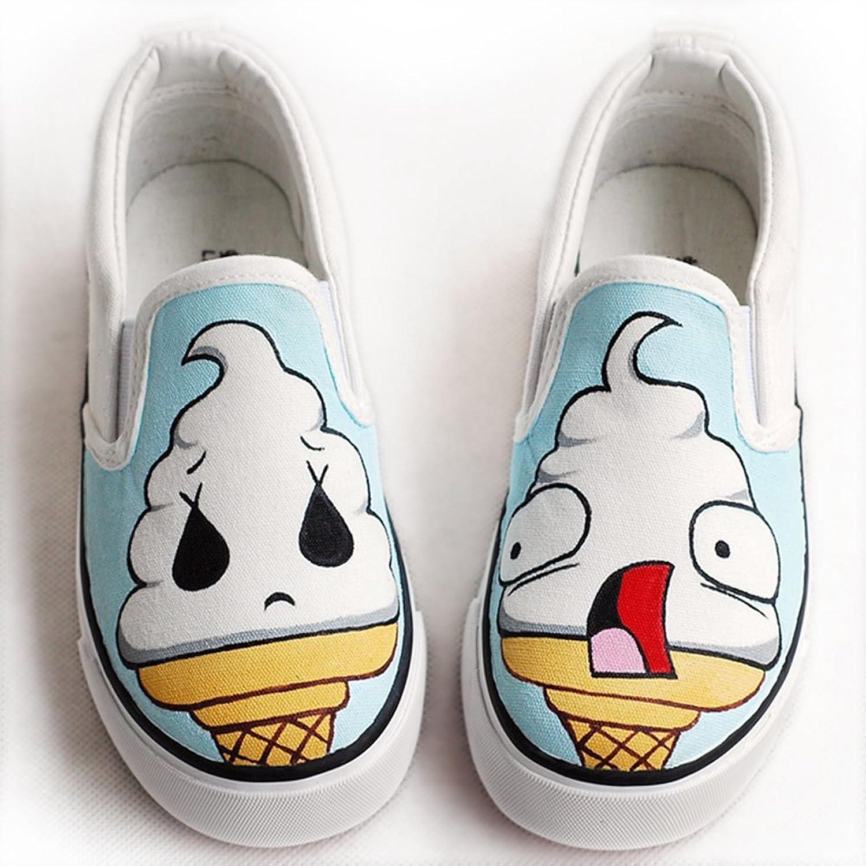 手绘画帆布鞋