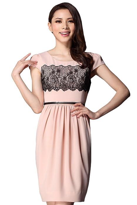 夏季圆领 中腰 修身 短袖 纯粉色胸部印黑色花纹名媛气质蕾丝连衣裙xl