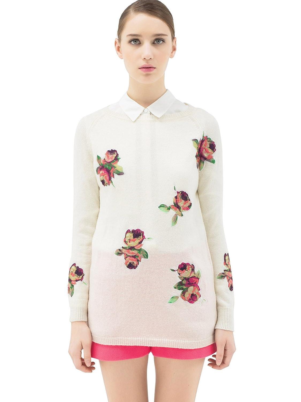 lily 欧式复古宫廷玫瑰元素套头羊毛衫毛衣 女式 本白