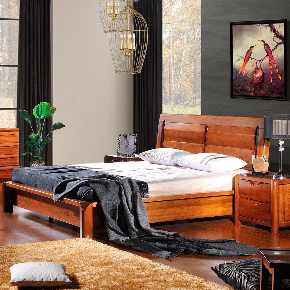 嘉文 纯实木高端家具 1.8米双人床 胡桃木现代中式床