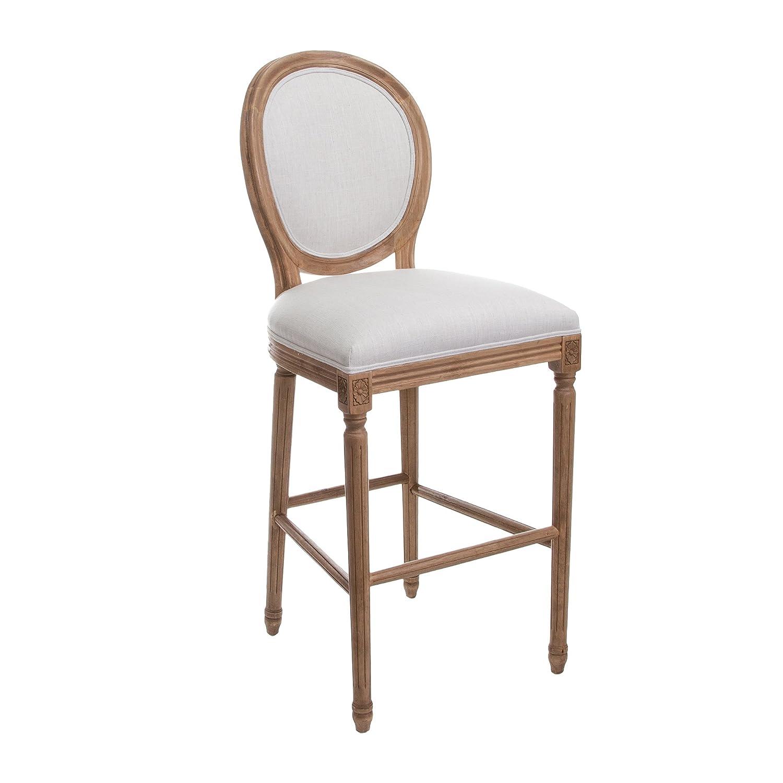 百伽 欧式圆背吧台椅/复古酒吧椅子/靠背布吧椅 高脚椅 纯实木 浅灰色