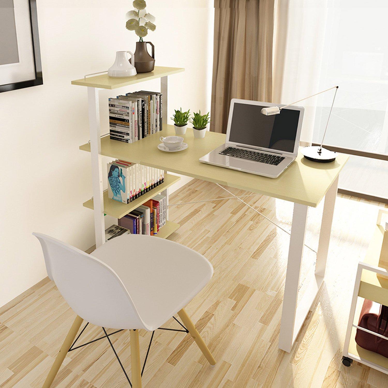 台式电脑桌简约书桌办公桌现代书架组合书桌