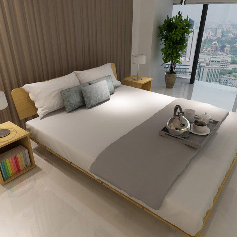 择木宜居 简约现代板式床双人床 单人床大床木床榻榻米床 床头柜 浅橡