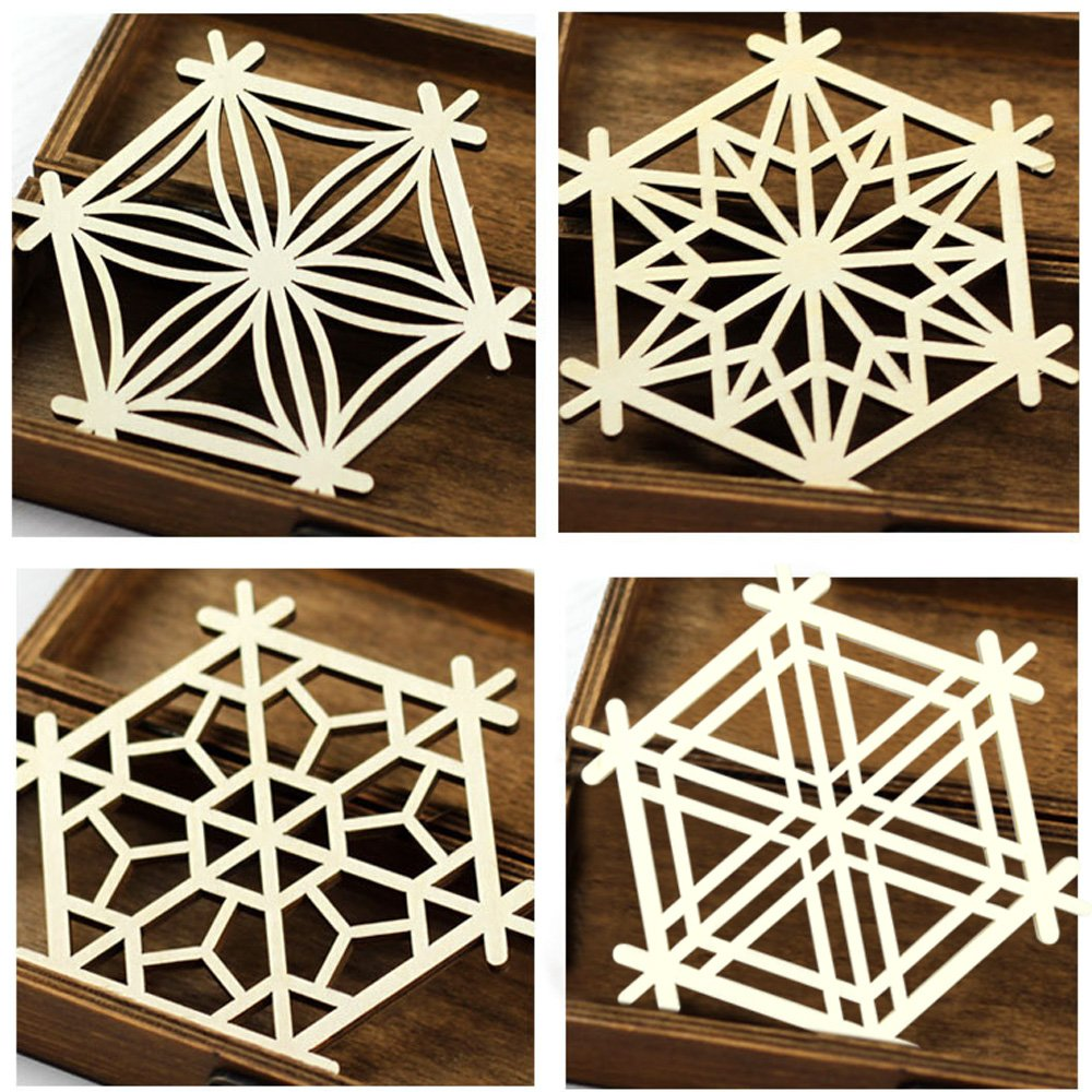 木晖(muhui)创意中国风复古木质窗格造型水杯垫
