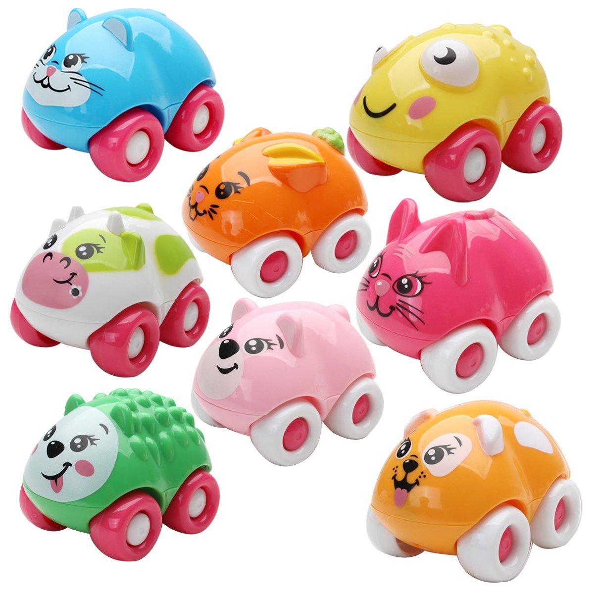 爱亲亲 儿童玩具益智早教卡通动物玩具小车正负极磁性