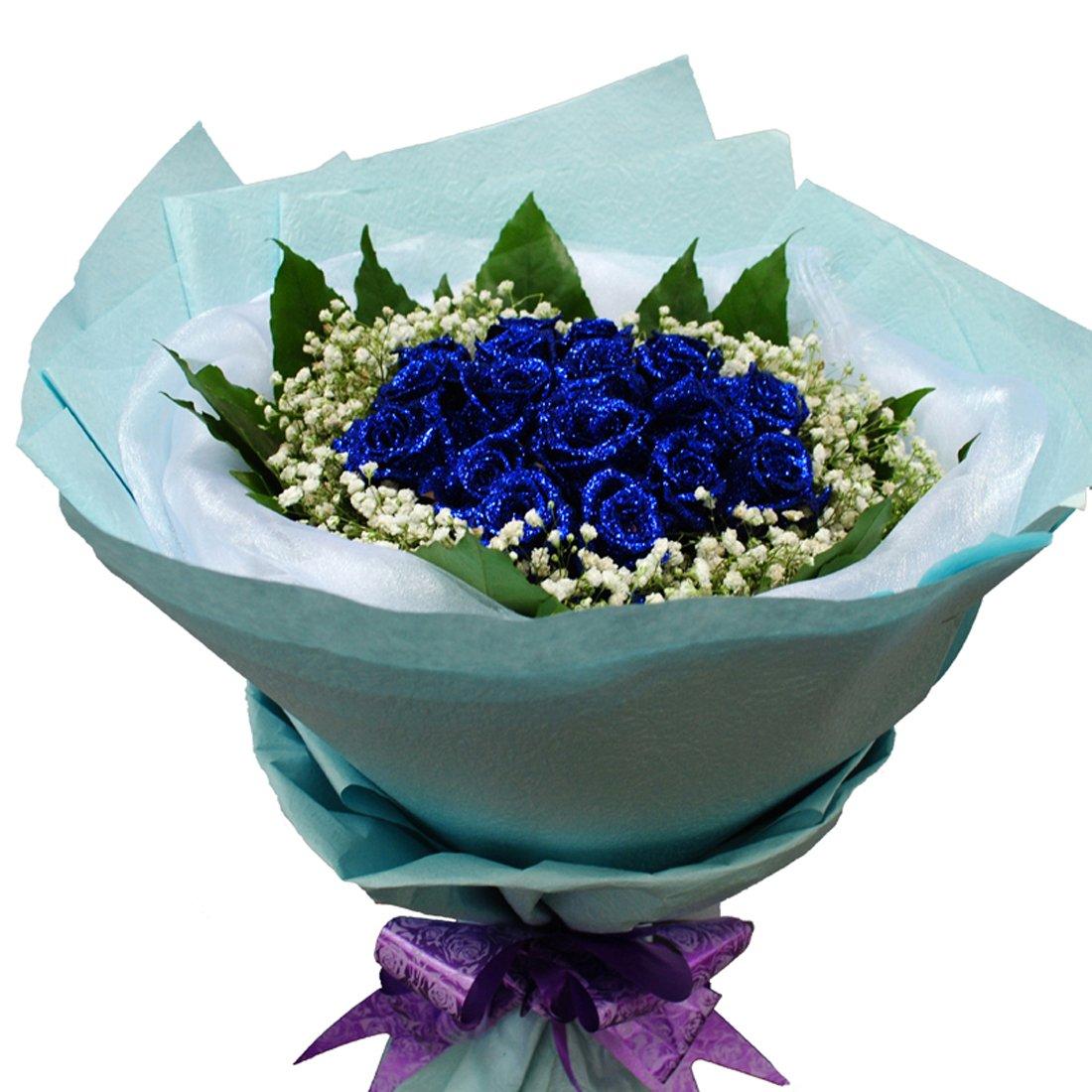 花柚 全国鲜花速递 19朵蓝玫瑰蓝色妖姬情人节送花礼品恋人鲜花祝福