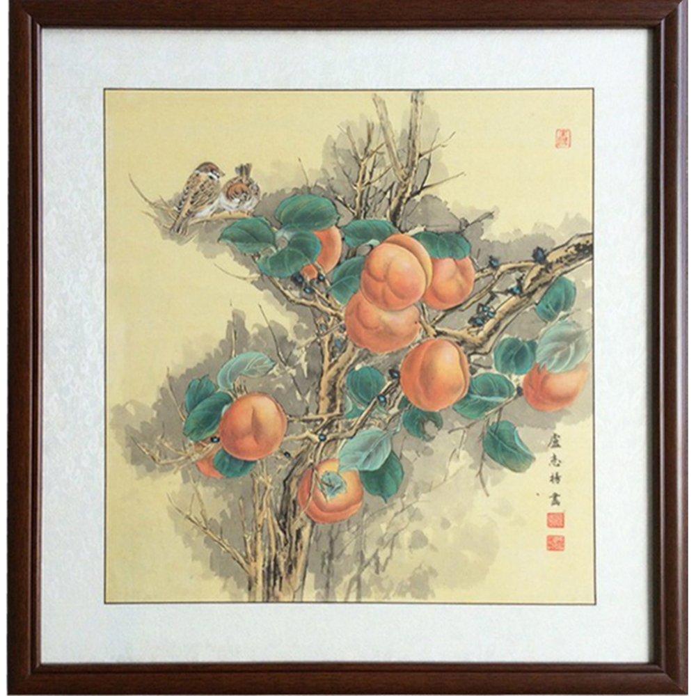 中国画有框装饰画简约客厅墙壁画挂画中式国画工笔画