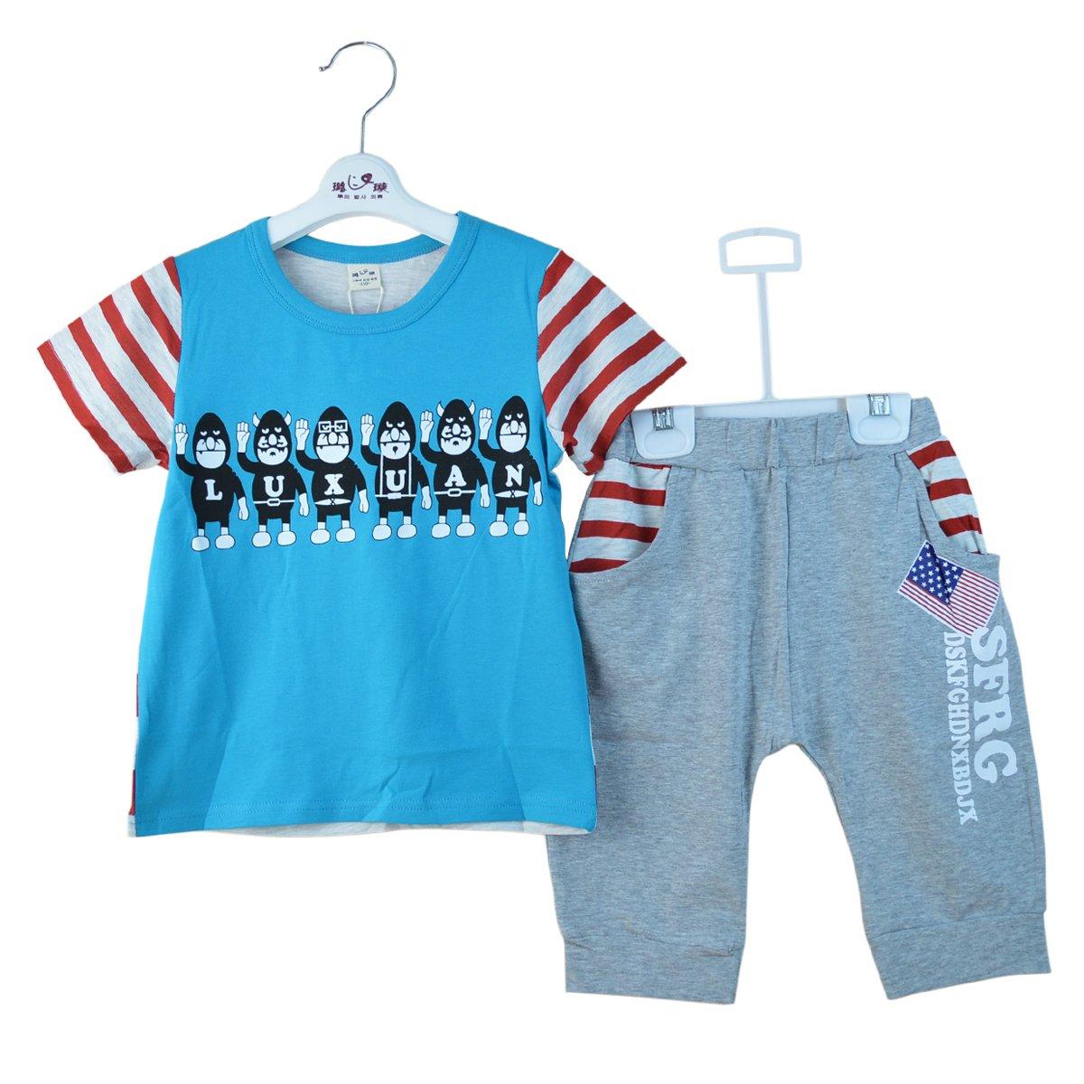 璐璇 夏款小伙伴系列14511016男款宝宝t恤套装 蓝色 120
