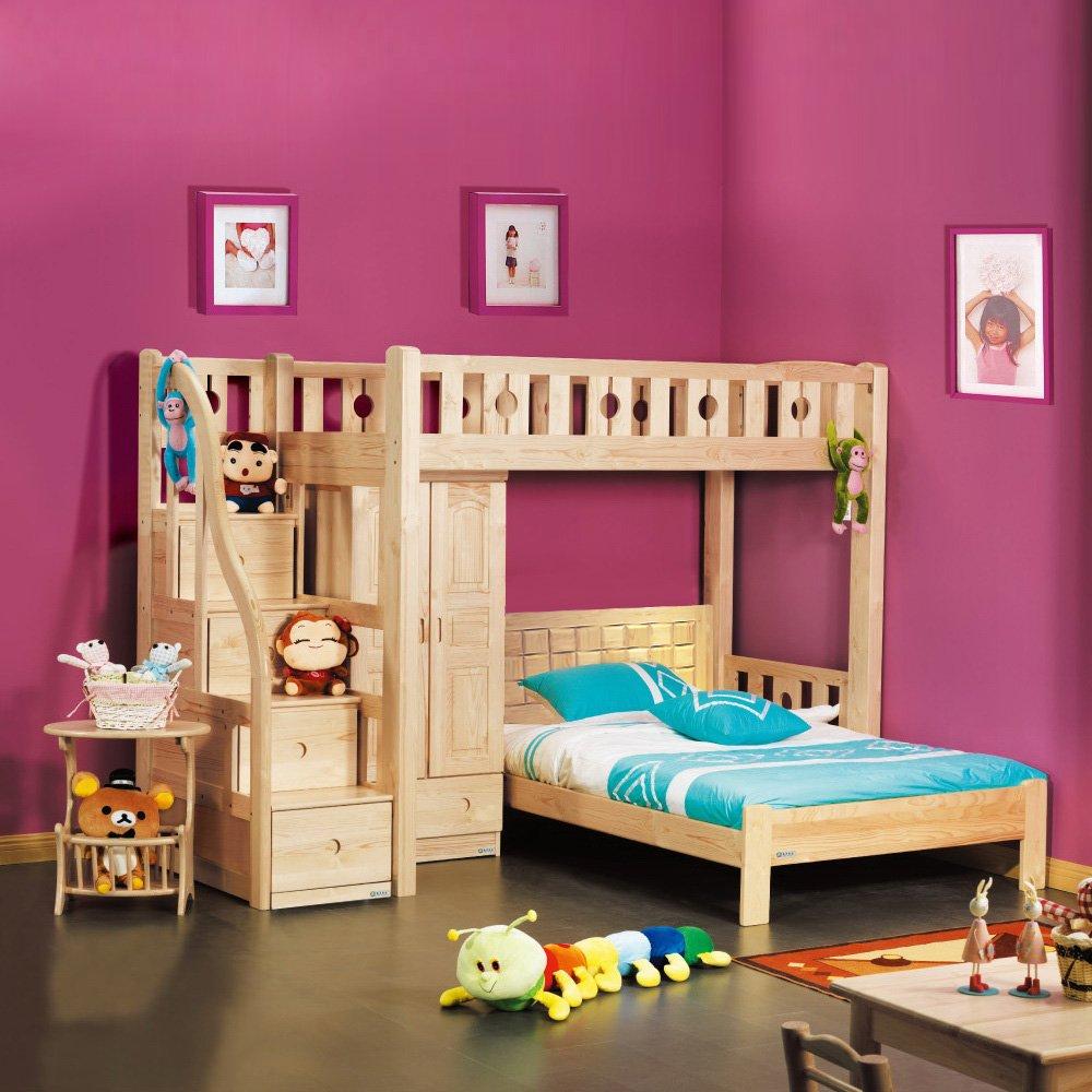松兰家具实木高低床双层床上下床子母床梯柜带书桌床