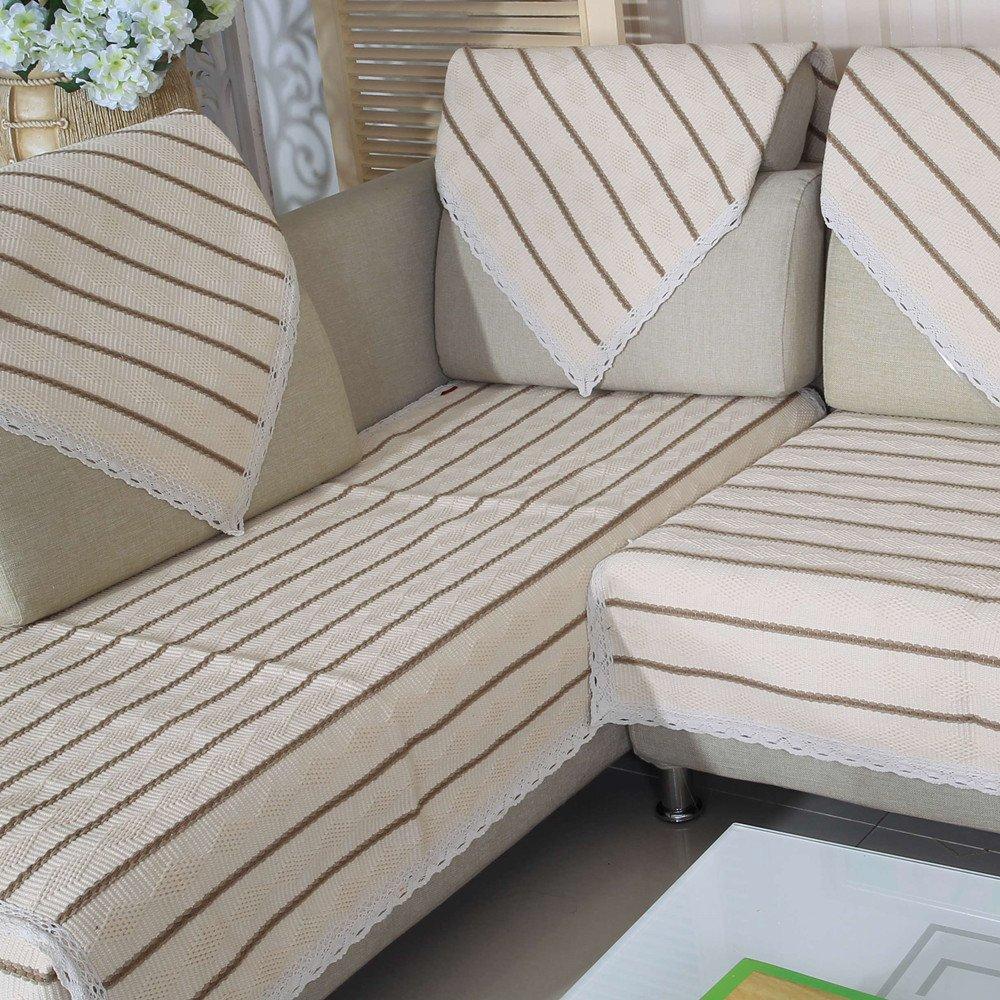 西子纱 现代中式条纹沙发垫 棉麻沙发垫 布艺沙发坐垫图片