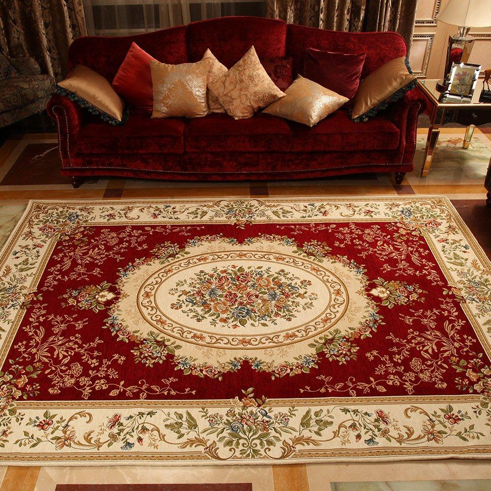 欧式地毯 客厅茶几卧室搬家送礼 婚庆地毯 卧室 床边地毯 枣红洛可可