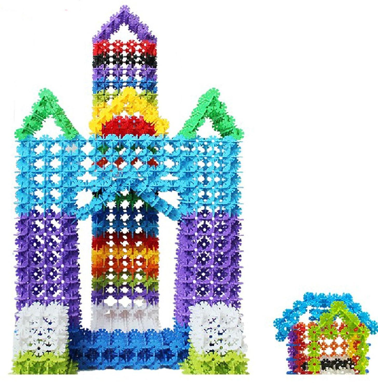 贝旺 益智拼插积木玩具 中号雪花片 400片 桶装 5l 6775图片