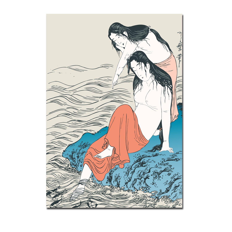 美时美刻 日本料理店酒店壁画仕女图装饰画浮世绘无框画艺妓挂画 1785