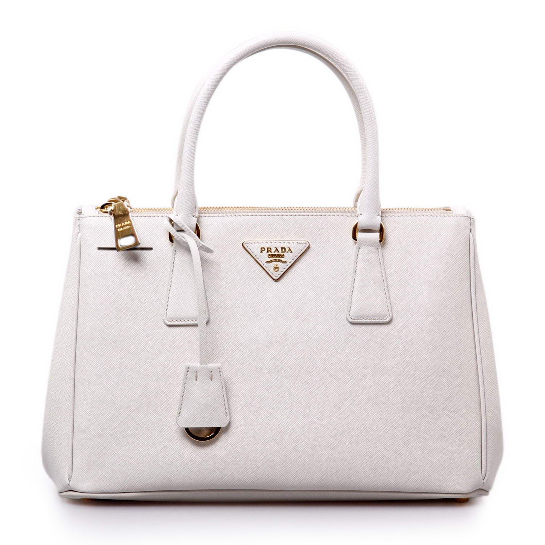 prada(普拉达)白色皮质手提包-服饰箱包-亚马逊中国