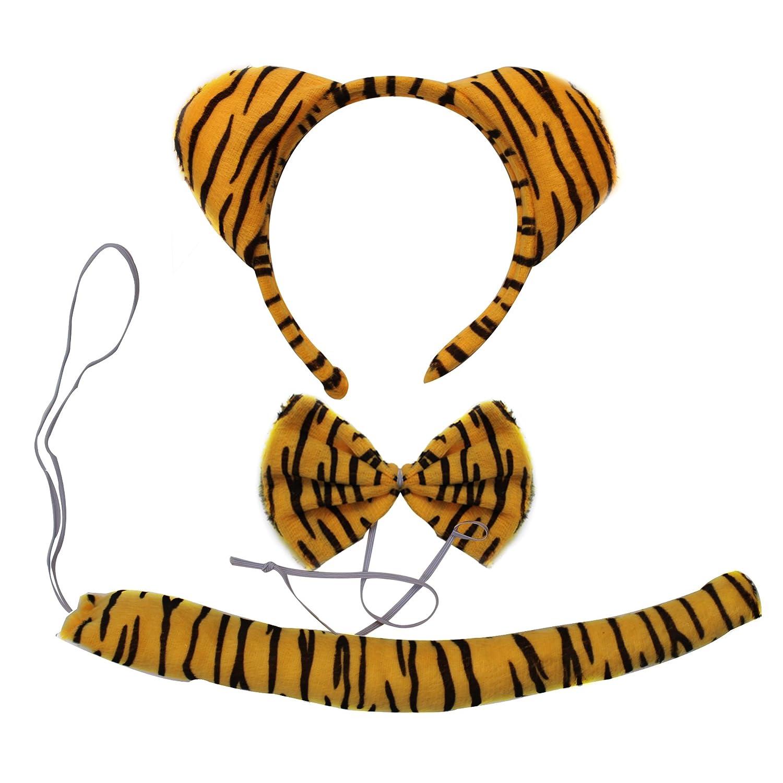 头饰表演道具动物三件套动物头箍头饰领结尾巴三件套 (老虎三件套)