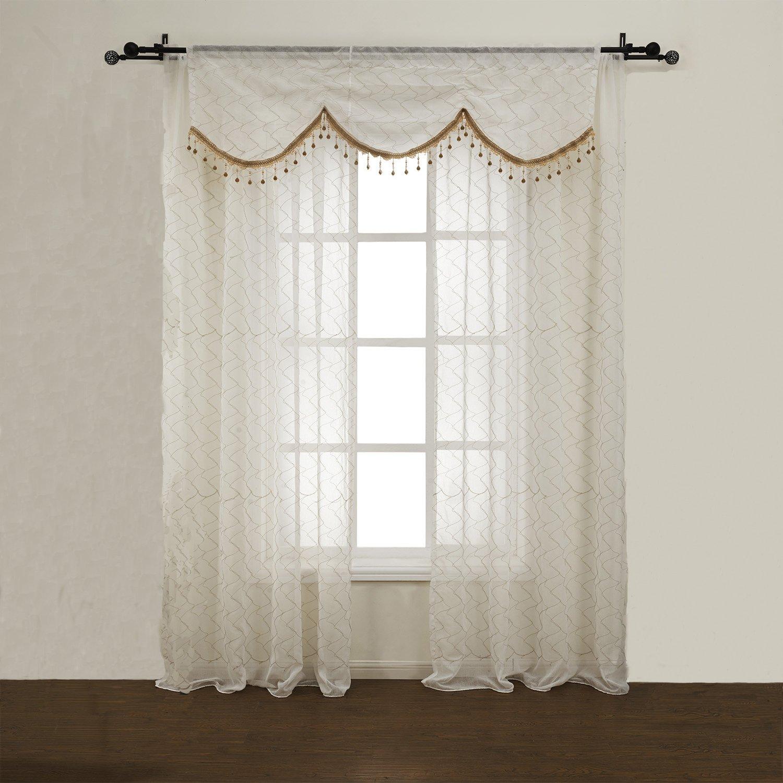 高档精美涤棉混纺白色刺绣波纹窗纱