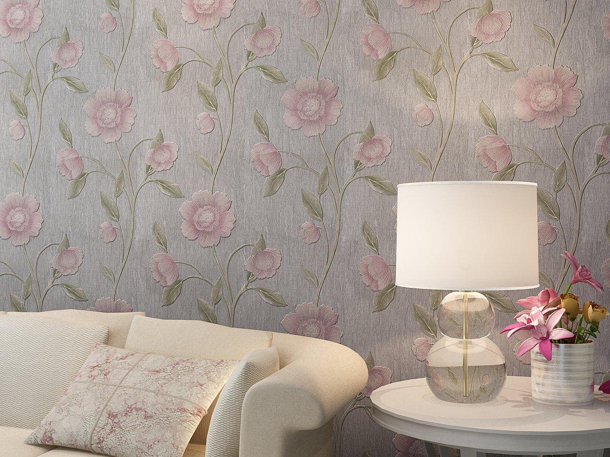 古典欧式田园时尚个性卧室房间壁纸复古简约大花红色