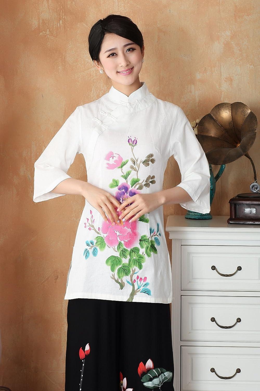 嘉彦姿 春夏新款亚麻手绘改良汉服 民国风文艺七分袖中式纯棉唐装