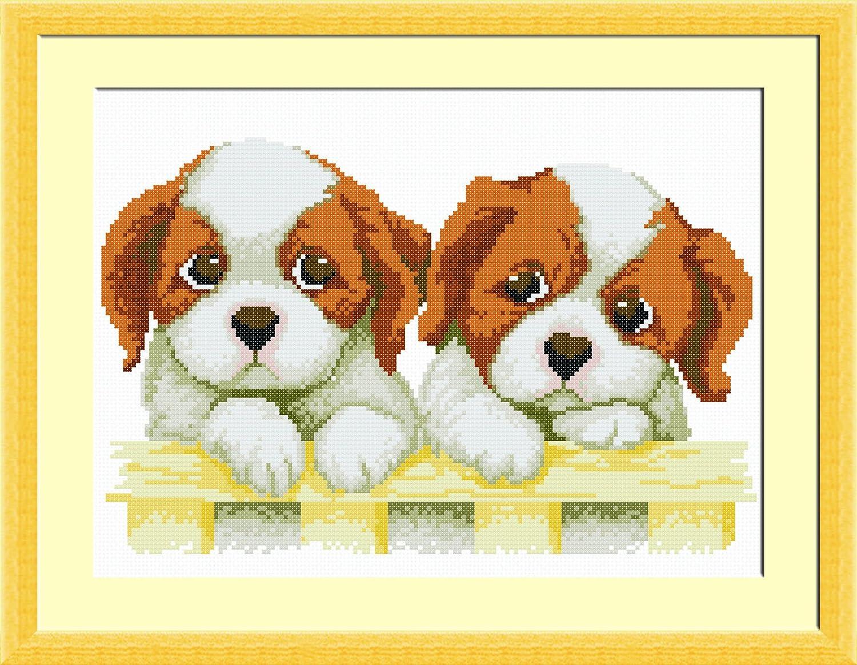 多美绣 dmc法国进口绣线 十字绣 ag游戏直营网|平台 可爱-栅栏上的小狗 热销 14ct