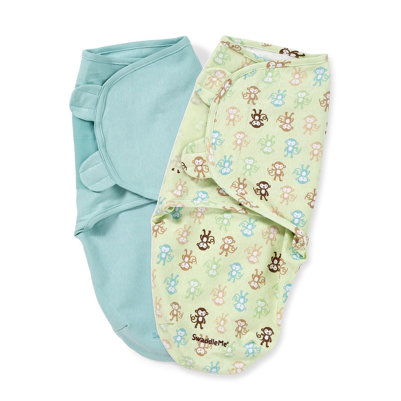 Summer Infant 2条Swaddleme婴儿包裹毯,趣味小猴, 小号/中号