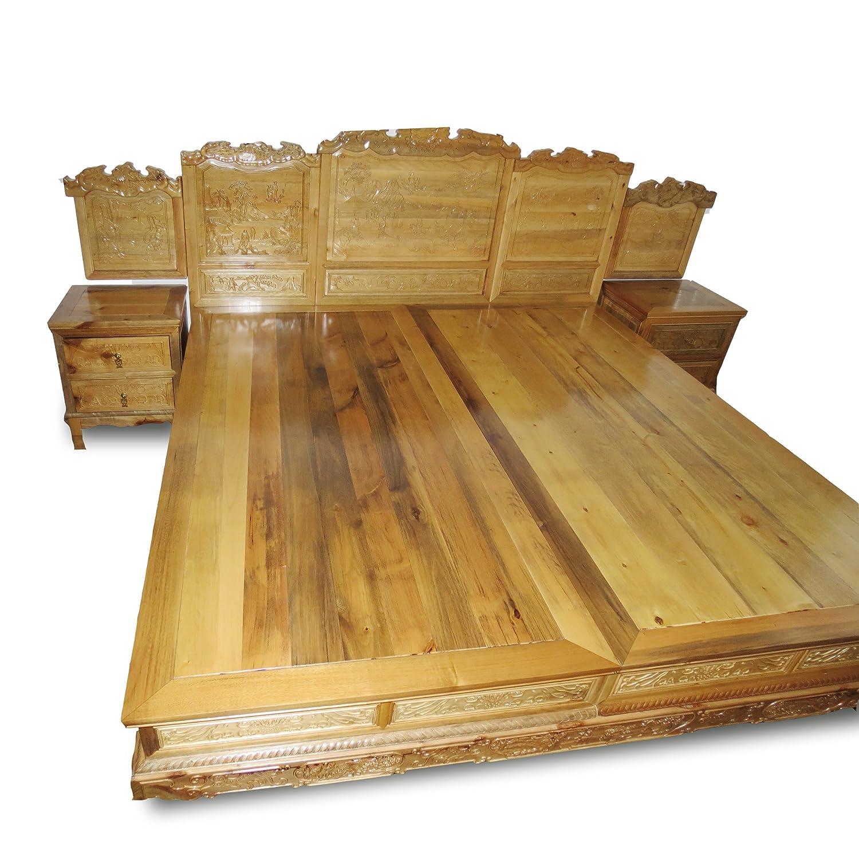 欧式卧室家具复古楠木雕花实木床 古典双人床 床头可以储物 全实木床