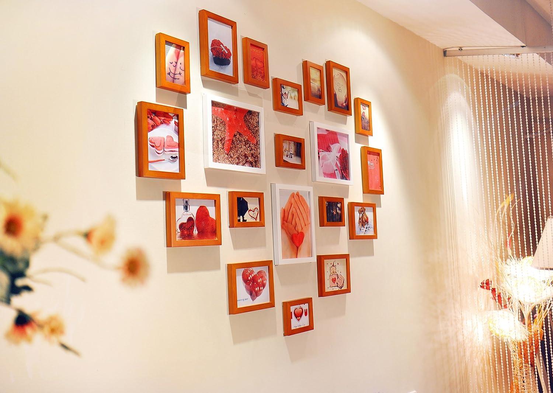 心形实木照片墙 20框心型欧式相片墙