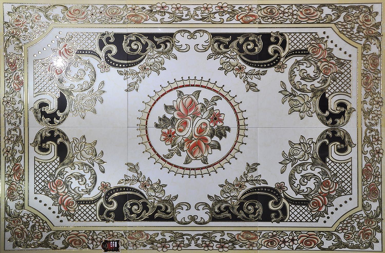 瓷砖 入户厅 玄关 地砖 高档欧式抛金砖 抛晶砖 地心拼图拼花1.